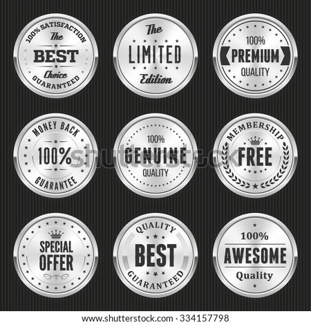 Collection of silver labels and badges - stock vector