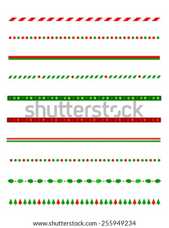 Collection of simple christmas themed borders / divider graphics including holly border, candy cane pattern, christmas trees and more - stock vector