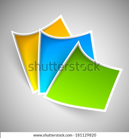 collection of simple colorful paper tags, labels with white border and shadow effects - stock vector