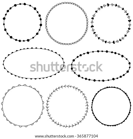 Collection of simple doodle frames  - stock vector