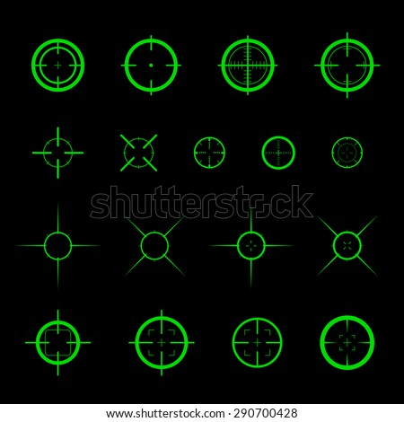 Collection of simple flat vector targets isolated on black background. Different crosshair icons. Aiming mark templates. Shooting gun bullet sign design. - stock vector