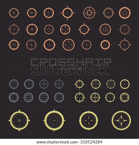 Collection of simple flat vector targets isolated on dark background. Different crosshair icons. Aims templates. Shooting marks design. Scope sniper gun sign. - stock vector