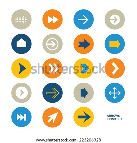 Collection of simple icons. Icons of arrows. Simple circle shape internet button. Contemporary modern flat style. - stock vector