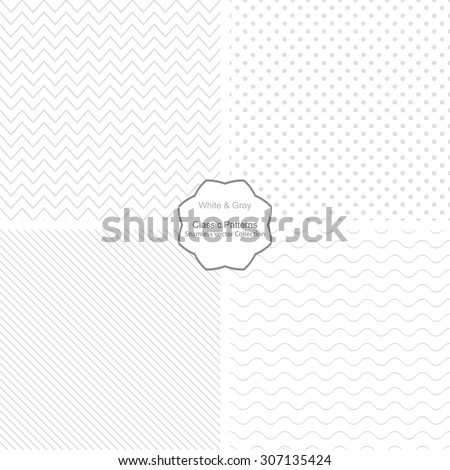 Collection of simple vector patterns. Seamless patterns in white and grey colors. - stock vector