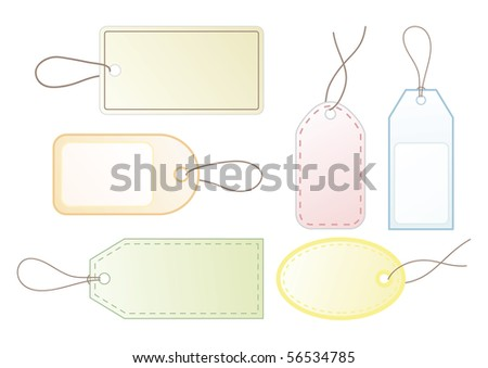 Collection of six blank vector price tags for your design.