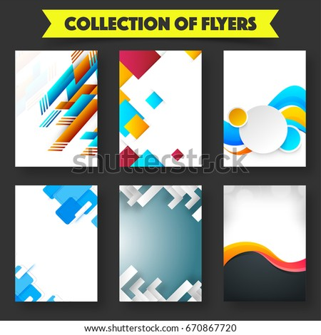 Collection Six Creative Flyers Templates Layout Stock Vector 2018