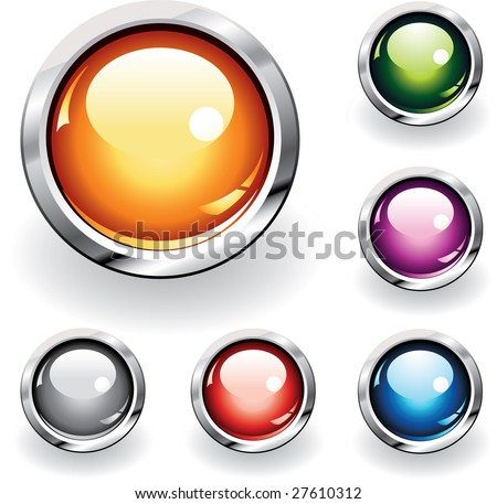 Collection of six glossy buttons in various colors - stock vector