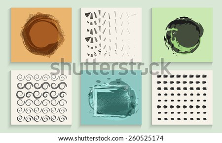 Collection of six hand made patterns in different shapes. - stock vector