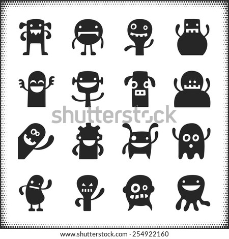 Collection of sixteen funny vector characters.