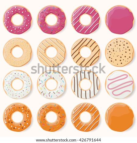 Collection of sixteen glazed colorful donuts with different flavors, vector illustration - stock vector
