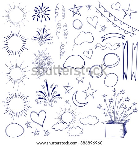 Collection of 47 sketched retro elements. VECTOR blue illustration isolated on white. - stock vector