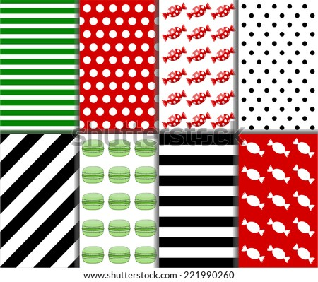 Collection of small polka dot and diagonal stripes patterns in red, black, green and white color. Set of eight seamless abstract colorful candy pattern. Vector art image illustration background  - stock vector