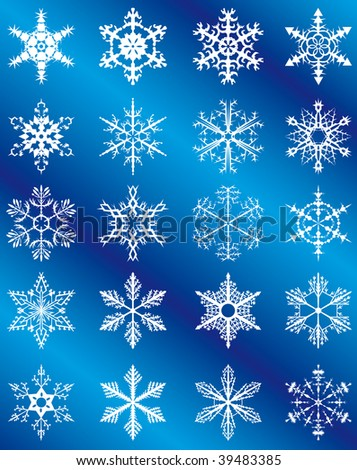 Collection of snowflakes on a blue background. Vector illustration