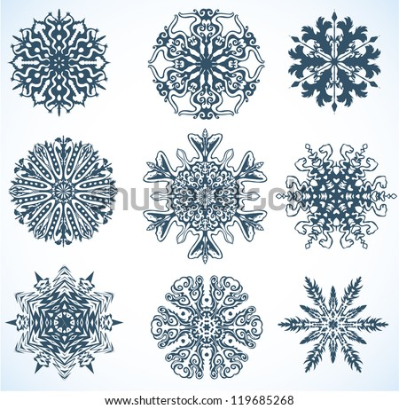Collection of Snowflakes, some snowflakes with snake, the symbol of 2013 new year - stock vector