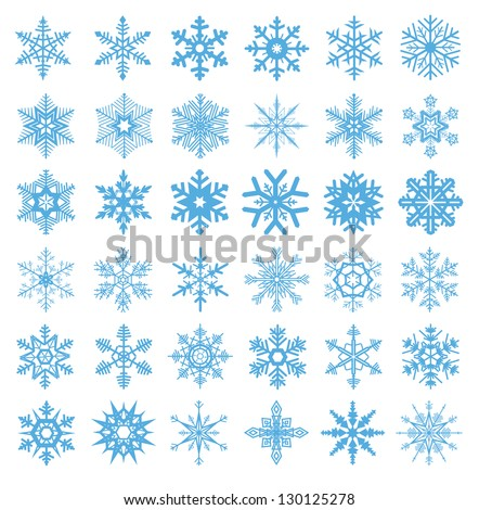 collection of 36 snowflakes vector - stock vector