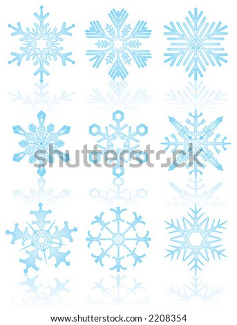 Collection of snowflakes, vector illustration