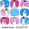 collection of snowmen on colorful background - stock vector