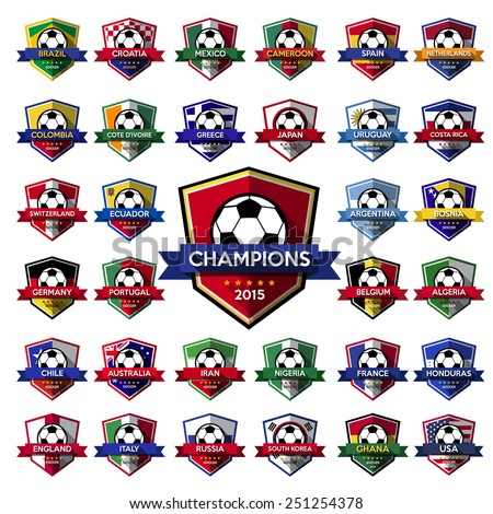 Collection of soccer ( football ) badge.Illustration eps10 - stock vector