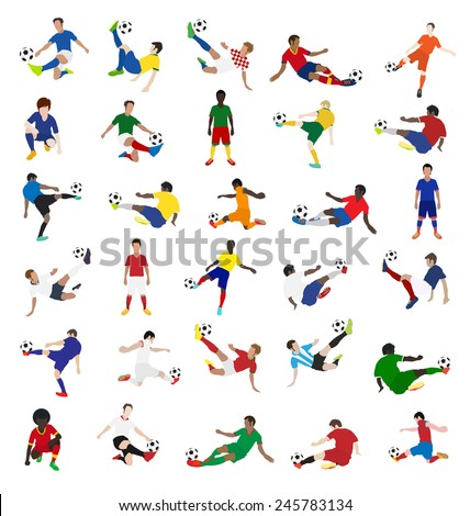 Collection of soccer players, Vector illustration template design - stock vector