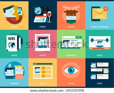 collection of social media concept banners, vector illustration - stock vector