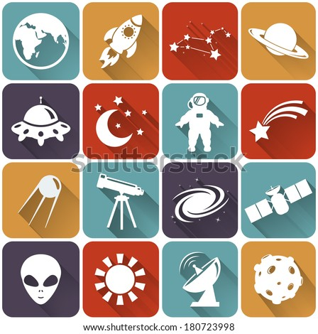 Collection of 16 space and astronomy flat icons. Vector illustration. - stock vector
