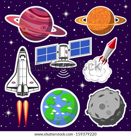 Collection of spaceships and planets, space theme - stock vector