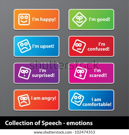 Collection of speech - emotion. Happiness, joy, grief, fear and other. Vector.