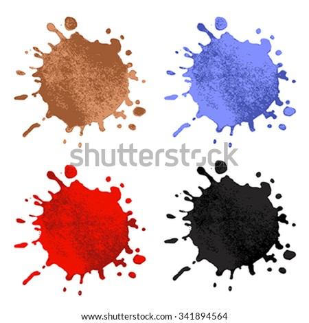 Collection of splash. Coffee, Blood, Ink, Paint - stock vector