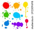 Collection of splats  splashes and blobs of brightly colored paint in a rainbow palette in different shapes with two having running drips isolated on white - stock