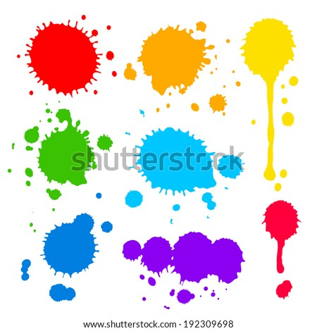 Collection of splats  splashes and blobs of brightly colored paint in a rainbow palette in different shapes with two having running drips isolated on white - stock vector
