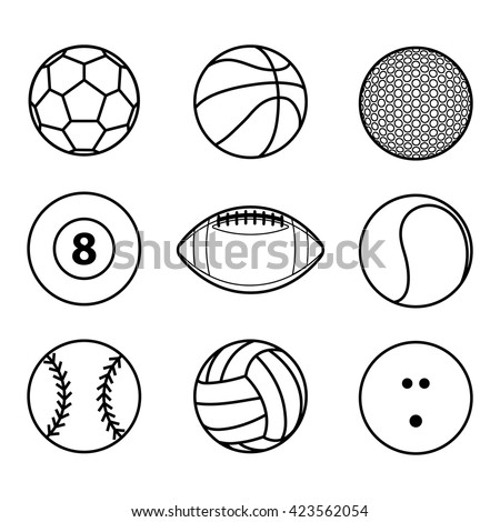 balls outline sports sport vector ball icon illustration collection shutterstock