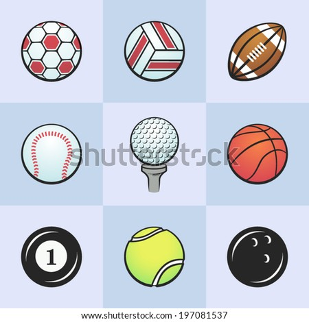Collection of sport icons. Colored vector sport balls. Vector icons set isolated on light blue background.
