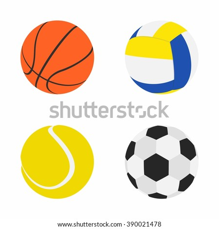 Collection of Sports Balls: Basketball, Volleyball, Tennis, Football or Soccer. Set Balls in Flat dasing style isolated on white background. Vector Illustration