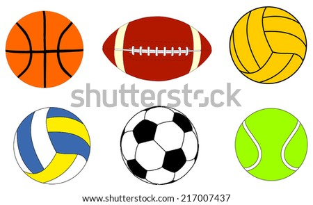Collection Of  Sports Balls Vector Illustration isolated on white background.