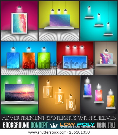 Collection of spotlights with panels with Low Poly arts for product advertisement, shop simulations, item promotions, packaging show and so on - stock vector