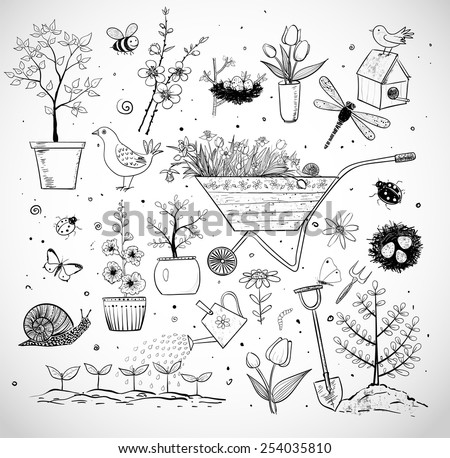 Collection of spring doodle sketch elements on white background: flowers, gardener's tool, bugs, spring trees, bird's nests with eggs. - stock vector
