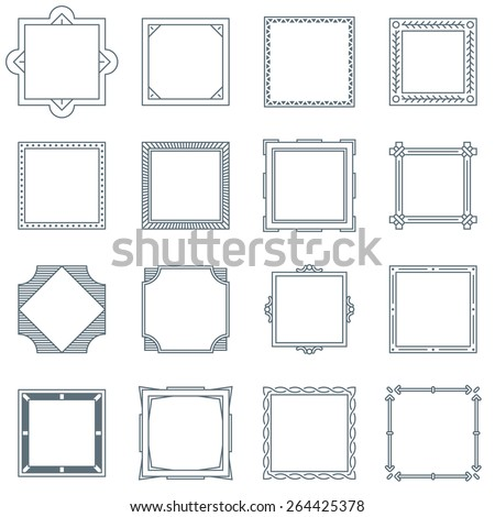 Collection of 16 Square Decorative Frames and Labels with Lines, Geometric Shapes and Natural Elements - stock vector