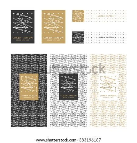 Collection of square design elements and seamless pattern for different products.Templates packaging,label,banner,poster,identity,branding,logo icon in Linear Style.Trendy colors. Vector illustration