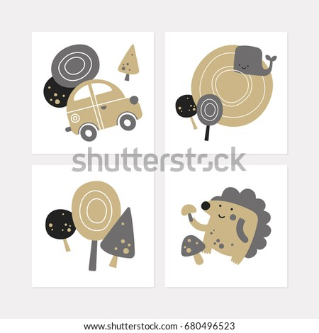 collection square postcards cartoon forest travel stock vector 2018