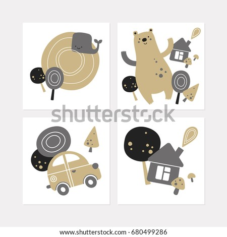 collection square postcards cartoon forest travel stock vector