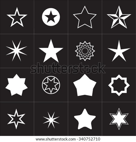 Collection of Star icons. Star pictogram. Concept rating, success, awards.  White star shape. Simple icon star. Isolated star symbol. - stock vector