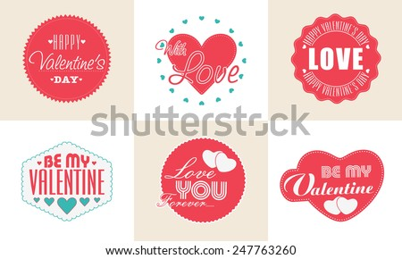 Collection of sticker or labels for Happy Valentines Day celebration. - stock vector