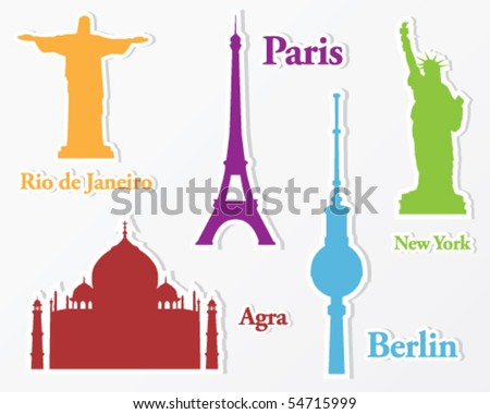 Collection of stickers from all over the world: Paris, New York, Agra, Berlin and Rio de Janeiro. Silhouette of important monuments. - stock vector