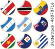 Collection of stickers/labels with country flags from North, Central and South America, set 5 - stock photo