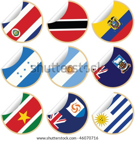 Collection of stickers/labels with country flags from North, Central and South America, set 5 - stock vector