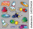 Collection of stickers - Spaceships - stock vector