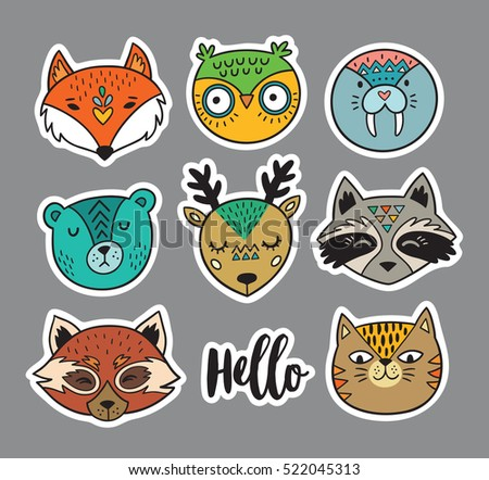 Collection of stickers with animal faces in cartoon style - fox, owl, seal, polar bear, deer, raccoon, red panda and cat