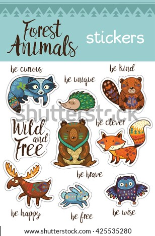 Collection of stickers with woodland tribal animals in cartoon style. Cartoon forest animals set sticker with fox, beaver, raccoon, bear, hedgehog, deer and owl. Vector Illustration