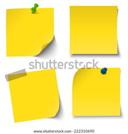 collection of sticky papers with pin needle, adhesive tape - stock vector