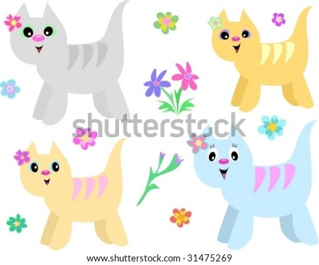 Collection of Striped Cats and Flowers Vector